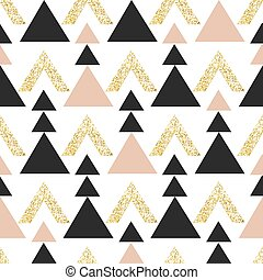 Gold geometric triangle background. Abstract seamless pattern with triangles in gold and dark gray.