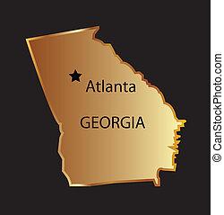 Gold georgia state map with capital name Gold georgia state...