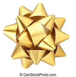 Gold gift bow isolated