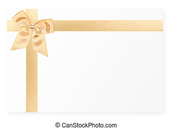 Gold gift bow on white card