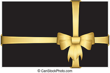 Gold gift bow with ribbons, vector