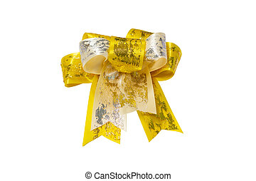Gold gift bow with white background clipping path