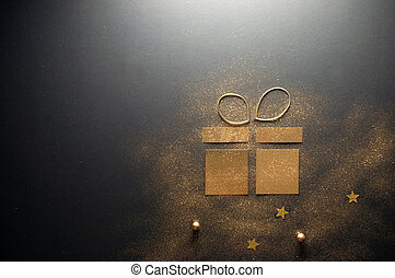 Gold gift box card icon