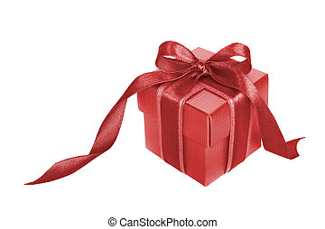 gold gift box with gold ribbon on white background