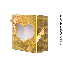 Gold gift box with heart shape isolated on white
