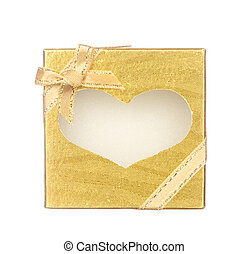 Gold gift box with heart shape isolated