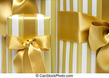 Gold gift boxes  background
