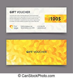 Gold gift voucher template with pattern