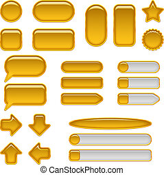 Gold glass buttons, set - Set of glass gold buttons and ...