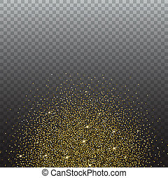 Gold glitter and bright sand, transparent background. - Gold...