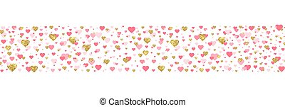 Gold glitter and pink heart border. Bright hearts confetti falling on white background. Valentines Day banner for greeting cards, wedding invitation, gift packages. Vector illustration