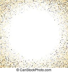 Gold glitter background. Gold frame sparkles on white background.