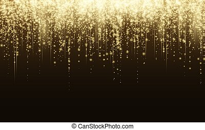 Vector background with gold glitter particles. Flash of light with sparkling texture