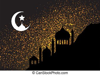 Gold glitter background with mosque silhouettes and moon
