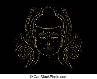 Gold glitter Buddha face for asian art concept