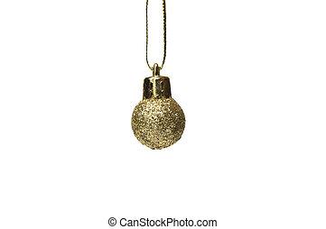 gold glitter christmas ball on white background