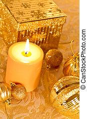 Gold Glitter Christmas - Christmas scene in gold glitter
