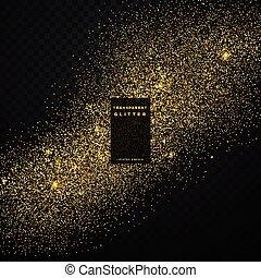 gold glitter confetti explosion on black transparent background