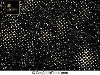 Gold glitter explosion of confetti texture on a black background. Golden grainy design element