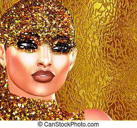 Gold glitter face and sequence girl.