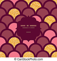 Gold glitter fish scale frame seamless pattern background -...