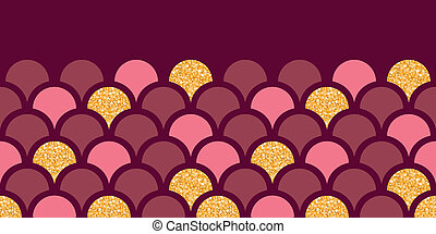 Gold glitter fish scale horizontal border seamless pattern background