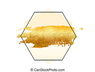 Gold glitter foil brush stroke vector. Golden paint smear with hexagon border frame isolated on white. Glow metal creative pattern