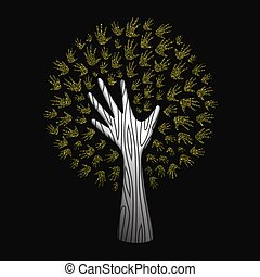Gold glitter hand tree for nature help concept