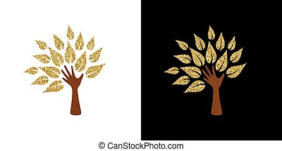 Gold glitter hand tree symbol for nature help