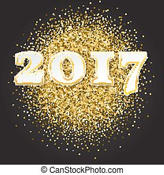 Gold glitter Happy New Year 2017 background. sparkles. Vector illustration, template for your invitation. greeting card