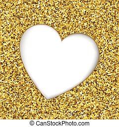 Gold glitter heart cutout