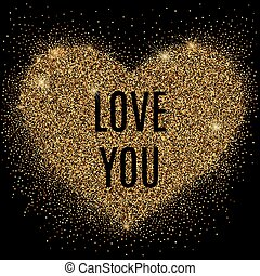 Gold glitter heart with sparkles