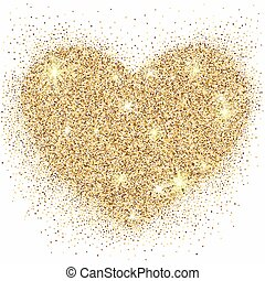 Gold glitter heart with sparkles on white background for...