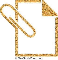Attachment file icon in gold glitter texture. Sparkle luxury style vector illustration.