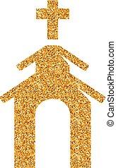 Church icon in gold glitter texture. Sparkle luxury style vector illustration.