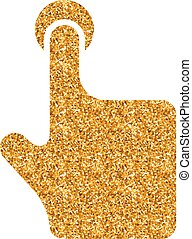 Gold Glitter Icon - Gesture - Finger gesture icon in gold...