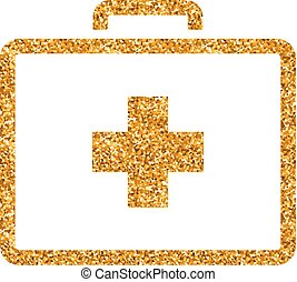 Medical case icon in gold glitter texture. Sparkle luxury style vector illustration.