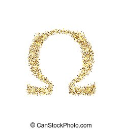 Gold glitter icon of omega isolated on background. Art...