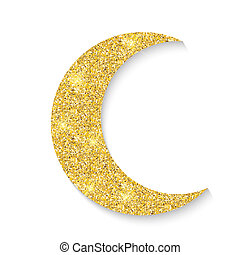 Gold glitter moon icon of Crescent Islamic isolated on white background. Illustration