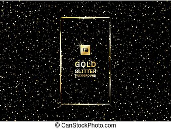 Gold glitter on a black background and texture. Golden explosion of confetti grainy. Design element.