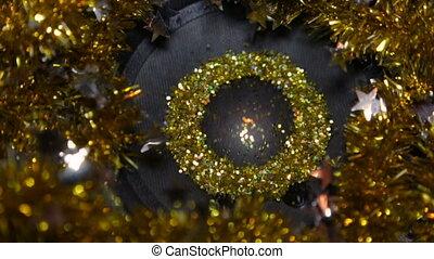 Gold Glitter On Speaker - Music Loop Background - Christmas...