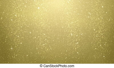gold glitter particles falling. computer generated seamless loop abstract motion background