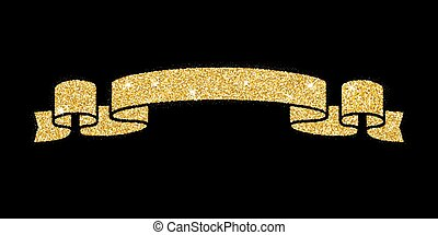 gold ribbon congratulations gold ribbon isolated on black background