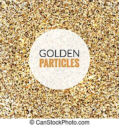 Gold glitter shine texture on a white background. Golden explosion of confetti. Golden abstract particles on a white background. Isolated Holiday Design elements. Vector illustration.