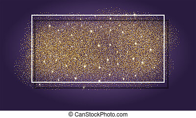 Gold glitter, sparkling background. Design of background with frame, white border. Template for greeting card, flyer, poster, banner. Abstract sparkle, sequin texture, 3D illustration