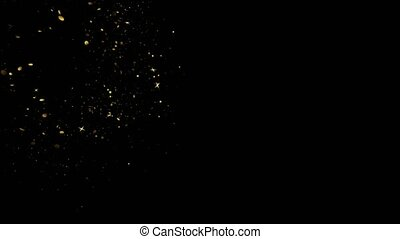 Gold Glitter Star Dust Magic Trail Sparkling Particles On Black
