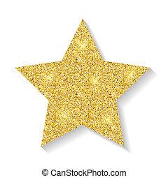 Gold glitter star icon isolated on white background. Illustration
