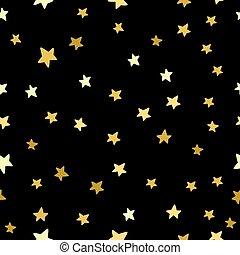 Gold Stars Seamless Pattern. Scattered glitter stars on black night sky background, Vector illustration,