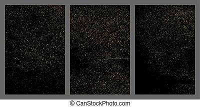 Gold glitter texture isolated on black.