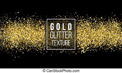 Gold Glitter Texture On A Black Background. Holiday Background. Golden Explosion Of Confetti. Golden Grainy Abstract Texture. Vector Design Element.
